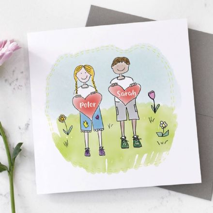 Personalised Heart Boy And Girl Card